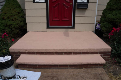 Applying Rust Oleum Restore Deck And Concrete Front Steps