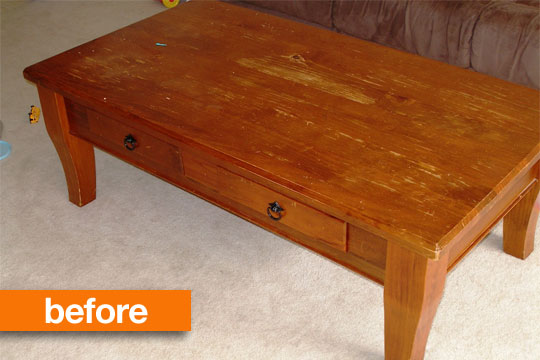 Before After Two Tone Coffee Table Makeover Paisley And Polka Dot