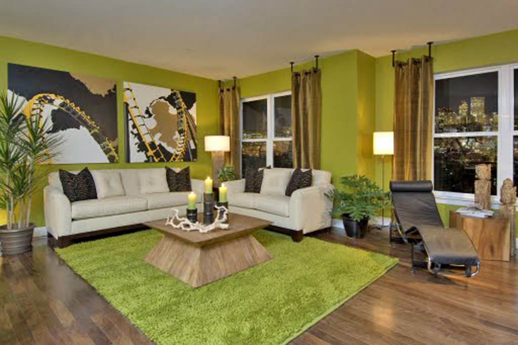 Classic Green Wall Living Room Paint Interior Design Applications