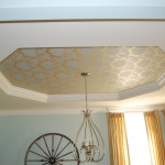 Close Newly Papered Tray Ceiling