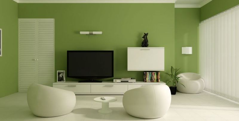 Contemporary Living Room Colors Green