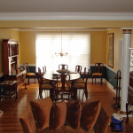 Elegant Dining Room Shown Warm Golden Yellow Paint And