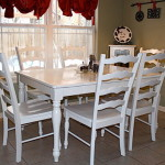 Excellent White Finish Painting Kitchen Table And Chairs Picture