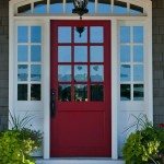 Exterior Paint Red Door Grey House