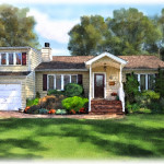 House Painting Depicts The Home Full Bloom Summer
