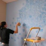 Ideas Sponge Painting Pattern Glamorous How Paint Wall