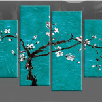Information Large Teal Turquoise Blossom Tree Painting Canvas Print