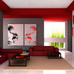 Living Room Paint Ideas Modern Red White Grey