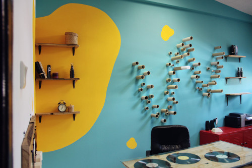 Office Wall Turquoise And Yellow Paint Cardboard Tubes Decor