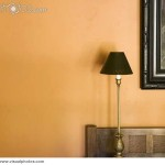 Orange Wall Small Lamp And Painting