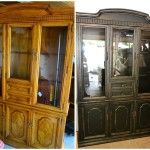 Painted Furniture Ideas Black And Distressed Buffet Hutch