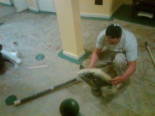 Painting Basement Floor Design Green Accent Covering Concrete