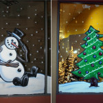 Plaza Christmas Frosty The Snowman Window Painting Danville