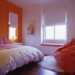 Pretty And Stylish Orange White Wall Paint Idea For Little Girls