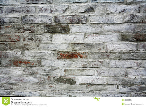 Red Brick Wall That Has Been Painted White You Can Still See The