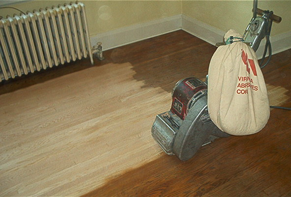 Sand Wood Floors Repairing Gaps And Second Sanding Stage Grit