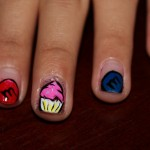 Sweet Cupcake Motif Colorful Nail Art Design Ideas