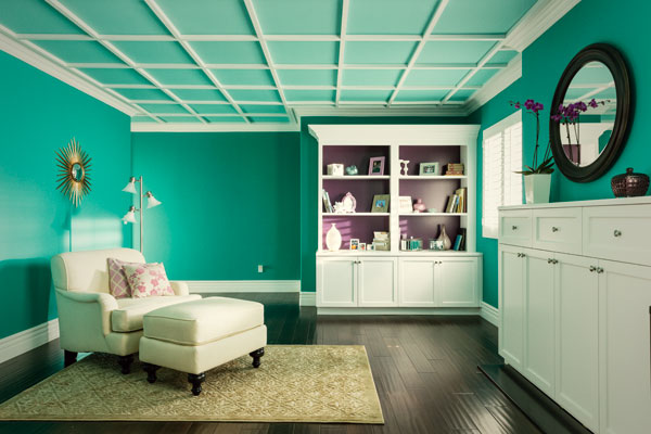 Teal Bedroom Coffered Ceiling Seen Home Depot Commercial