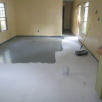 The Primer Dried Painted Floor Grey Oil Based Paint