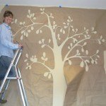The Tree Onto Wall Took Down Stencil And Starting Painting