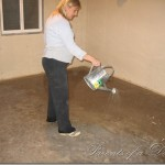 Used Broom Scrub The Cement