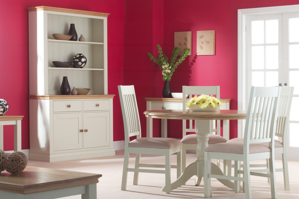 White Buttermilk And Cotton Painted Living Dining Room Furniture