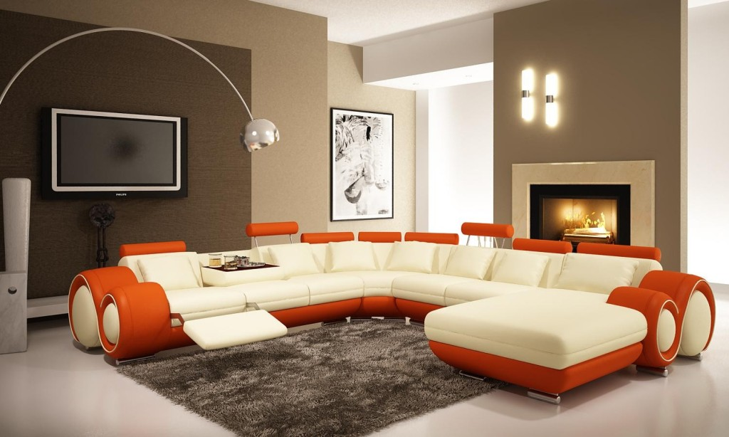 Brown Accent Wall Paint Colors For Modern Living Room Orange