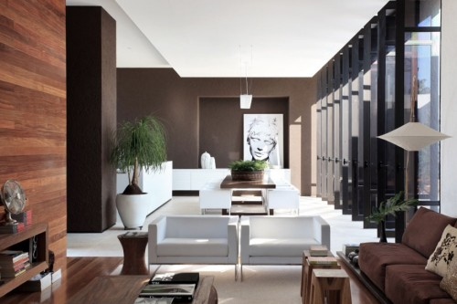Brown And White Sofa Black Painting Wall Image
