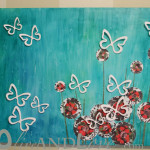 Canvas Art Butterflies And Scrapbook Flowers