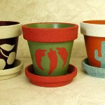Clay Pots Done Stencils And Textural Paint