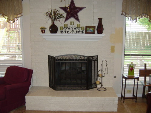Fireplace Also Has Fresh Paint And Custom Built Mantel