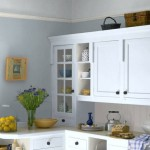 Gray Blue Walls Pale Ceiling Kitchen