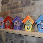 Hand Painted Bird House Blue Out Jewels