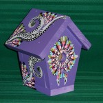 Hand Painted Bird House Purple Jewels