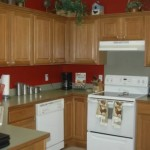 Kitchen Paint Color Ideas Oak Cabinets Dark Red