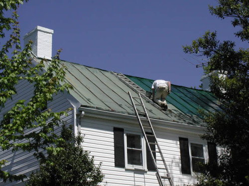 Metal Roof Cleaning Painting High Out Reach