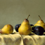 Still Life Plums And Pears