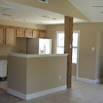 This Living Room Dining And Kitchen Has Been Remodeled Painted