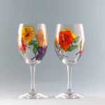 Wine Glasses Hibiscus Set Hand Painted