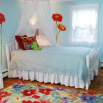 Baby Room Painting Ideas Blue Red Flower Wall