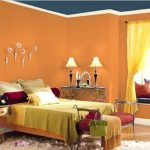 Bedroom Orange Wall Colourful