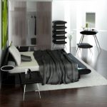 Black And White Bedroom Design Green Accent Art Painting
