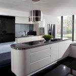 Black And White Home Kitchen Interior Island Wall Paint