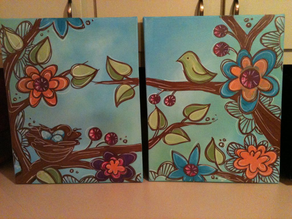 Brightly Colored Matching Paintings