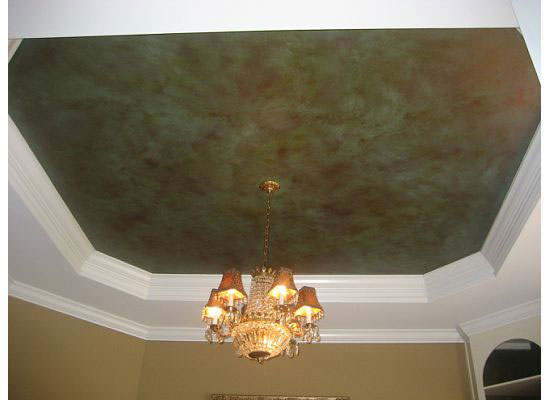 Ceiling Faux Finish Detail Brick Textured Dining Room Walls