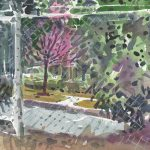 Chain Link Fence Painting Fine Art Print