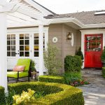 Exterior Paint Brow White Trim And Red Door