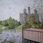 Fairy Tale Castle And Nursery Rhymes Hand Painted Wall Mural