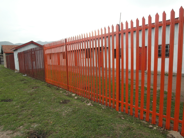 Fence Painted Orange The School Colour