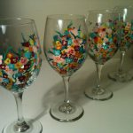 Flower Painted Wine Glass Google Search